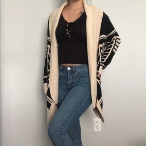 "Olive & oak black/cream ""Aztec"" chuncky cardigan L"